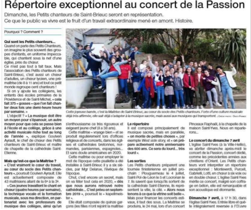Répertoire exceptionnel au concert de la Passion 0