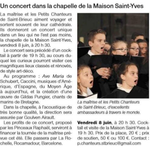 Concert das la chapelle de la Maison Saint-Yves