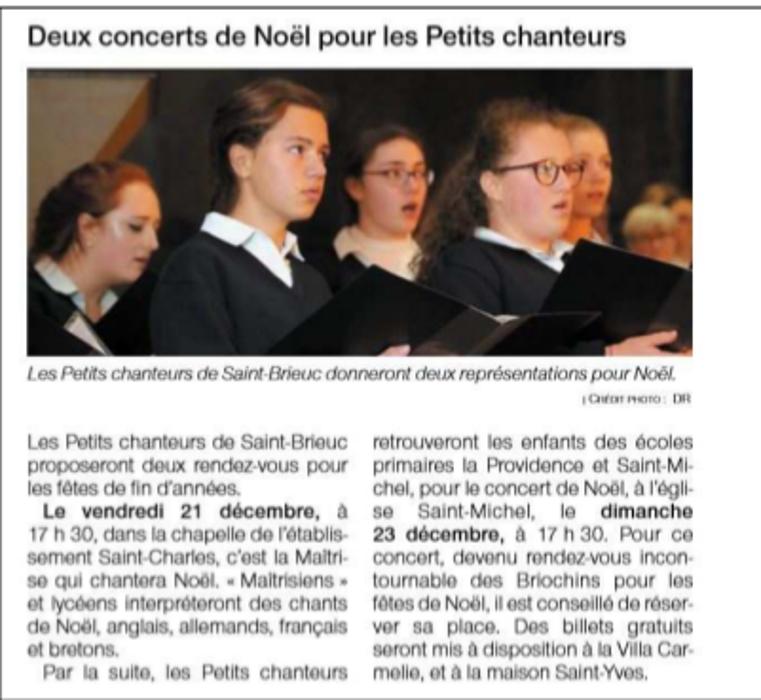 Deux concerts de Noël pour les Petits Chanteurs 0