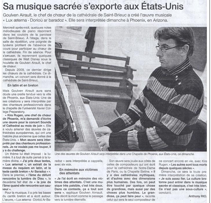 """""""Sa musique sacrée s''exporte aux Etats-Unis"""" 19nov"""