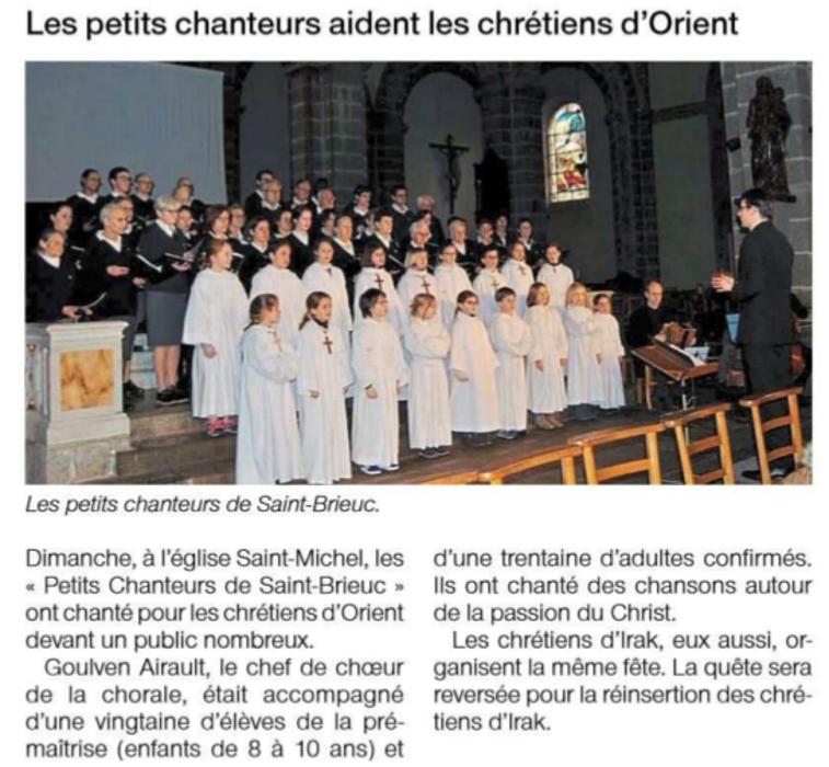 Les petits chanteurs aident les chrétiens d''Orient 0
