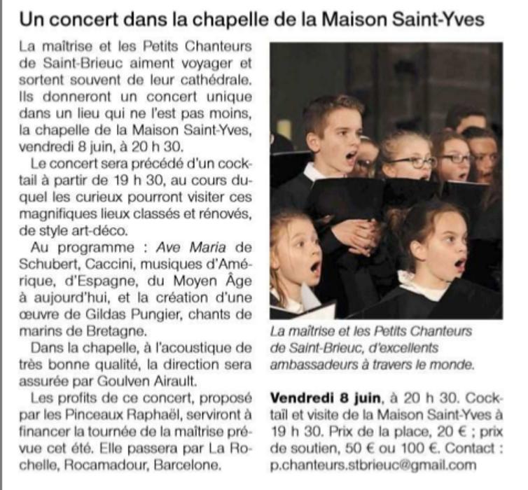 Concert das la chapelle de la Maison Saint-Yves 0